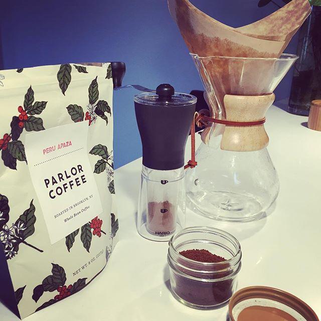 """""""Erst die Arbeit, dann das Vergnügen"""" is what I always think when I hand-grind the coffee beans #hario #parlorcoffee #chemex"""