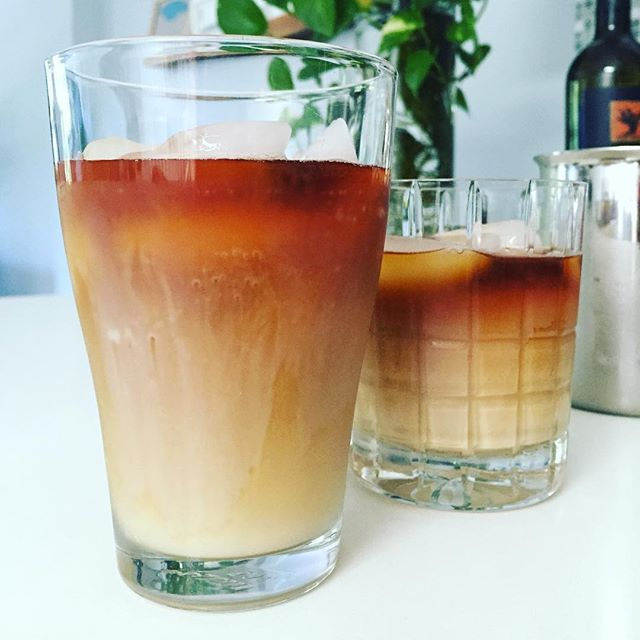 Freshly AeroPress-ed Sumatra poured over ice to fight 94 deg F. #thirdwavecoffee #flatbushroasters