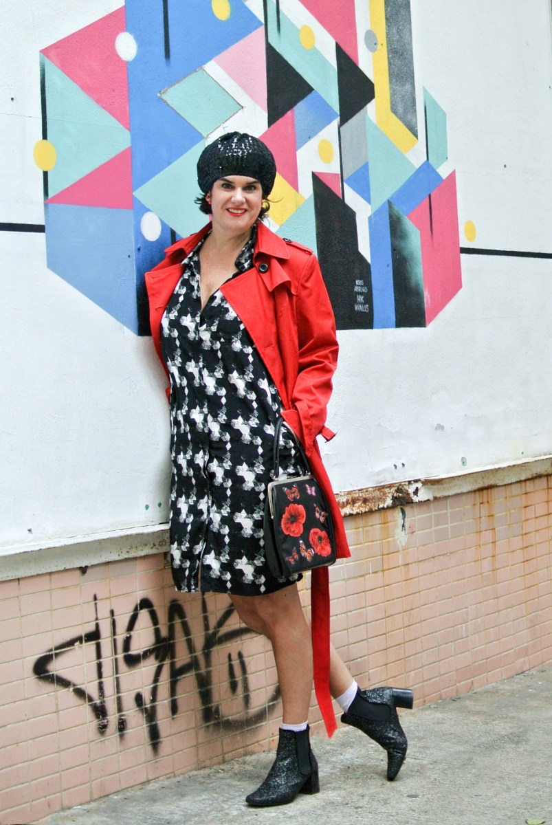 Black Shirt Dress with a Red Trench - Ping Pong Post No. 2
