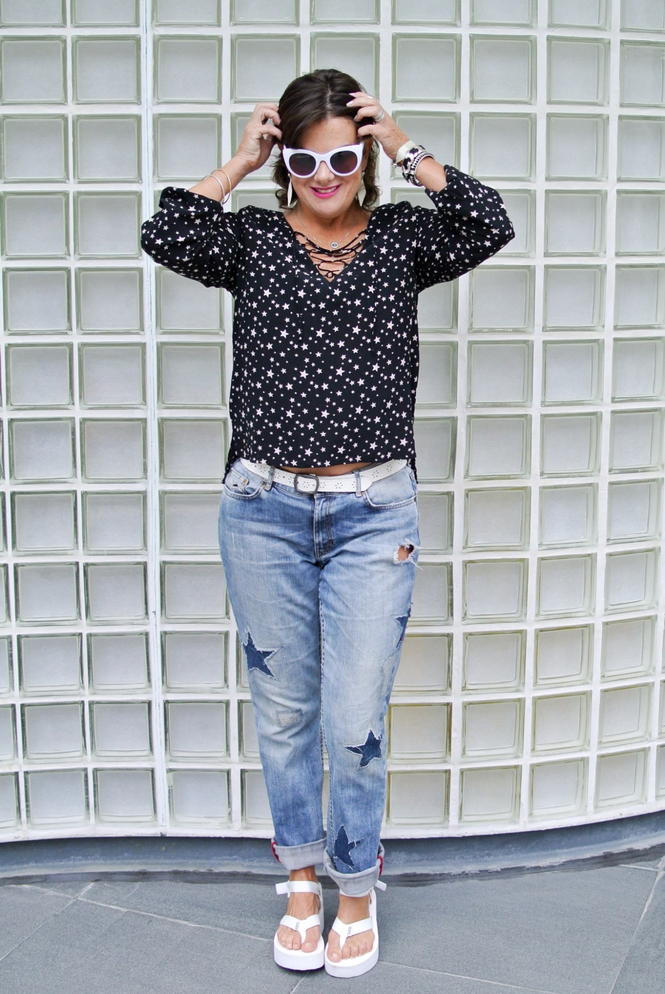 DIY Star Patched Jeans 3