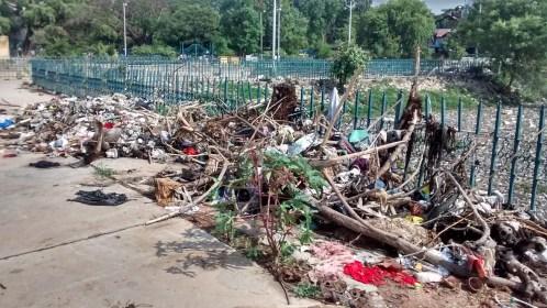 Garbage dump on halasuru lake