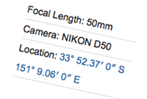 EXIF location displayed