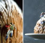 little people climbing up pastry with powdered sugar