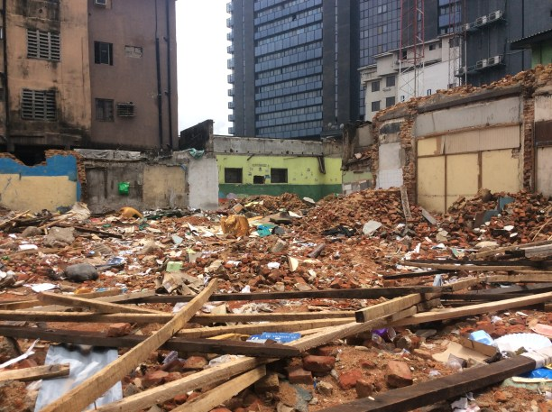 Photo taken today at the demolition site. The signboard by the state government is gone, stolen overnight.