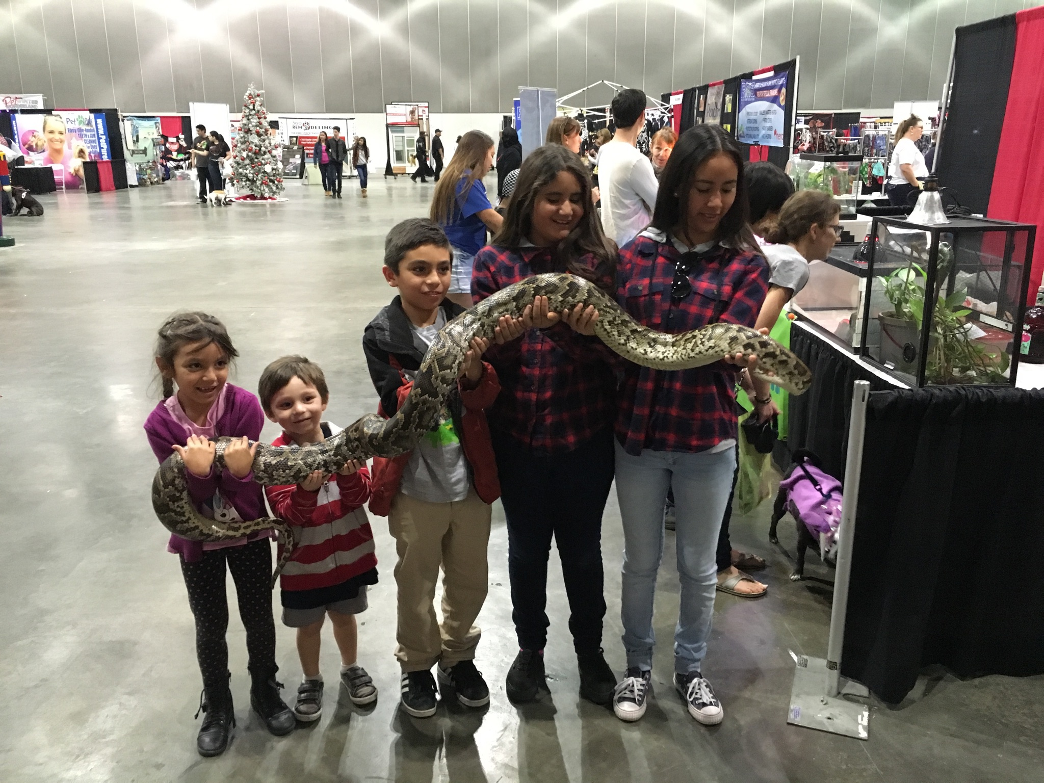 Kids with a snake