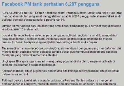 facebook perdana menteri malaysia