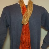 red and yellow silk scarf