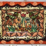 Paper Meche tray elephant painted bird and elephant