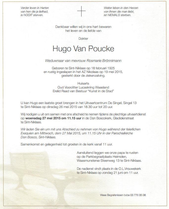 Dokter Hugo Van Poucke overleden