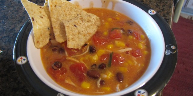 Creamy Tomato Chicken Soup with Tortilla Chips Recipe