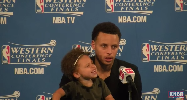 Riley Curry and Stephen Curry at press conference
