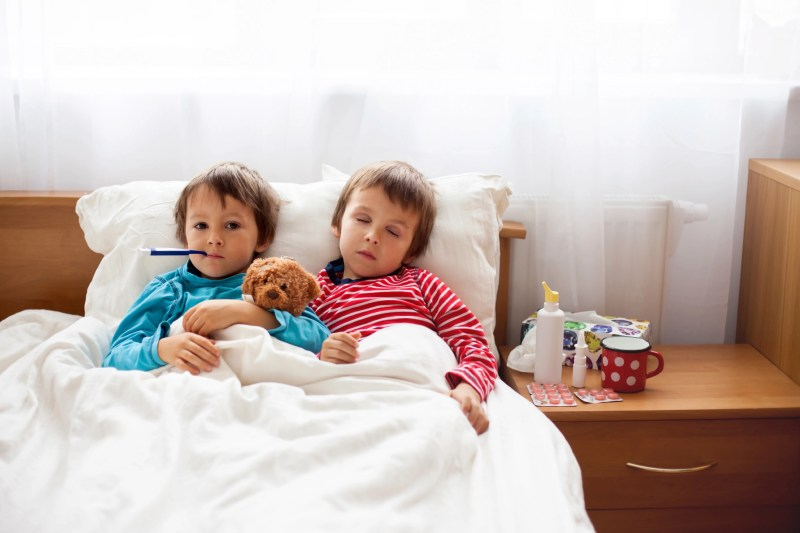 Two sick boys, brothers, lying down in bed with fever, holding teddy bear and resting