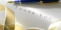 Close up of a thank you note. Shot with shallow depth of field