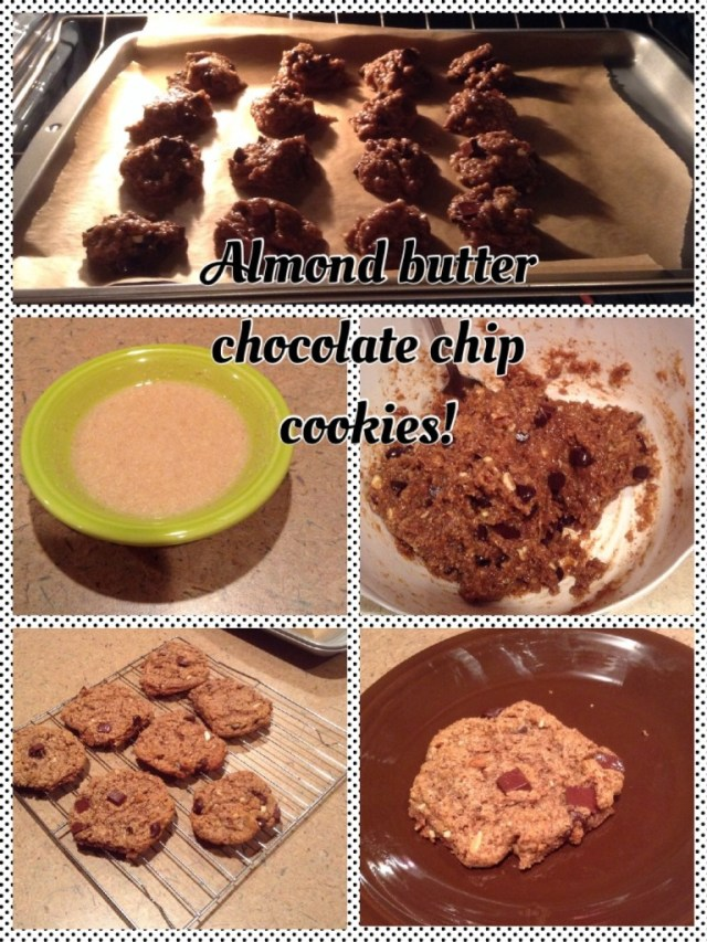 Almond Butter Chocolate Chip Cookies #cleaneating
