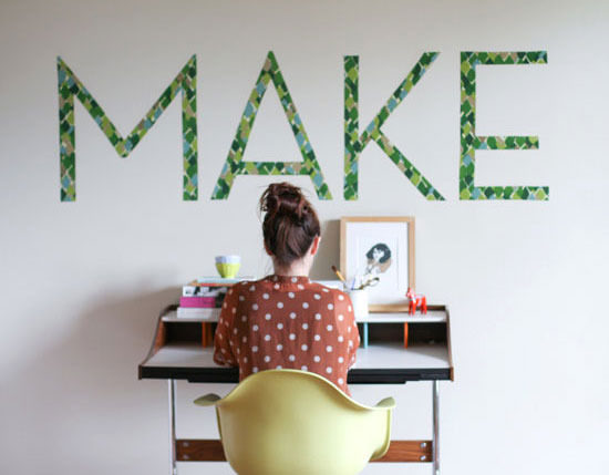 Make: Temporary Wall art from Paper & Stitch