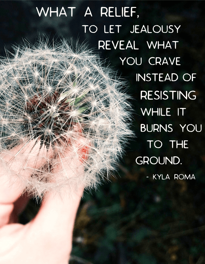 What a relief, to let jealousy lead you to whaty ou creave instead of resisting while it burns you to the ground (via Kyla Roma)