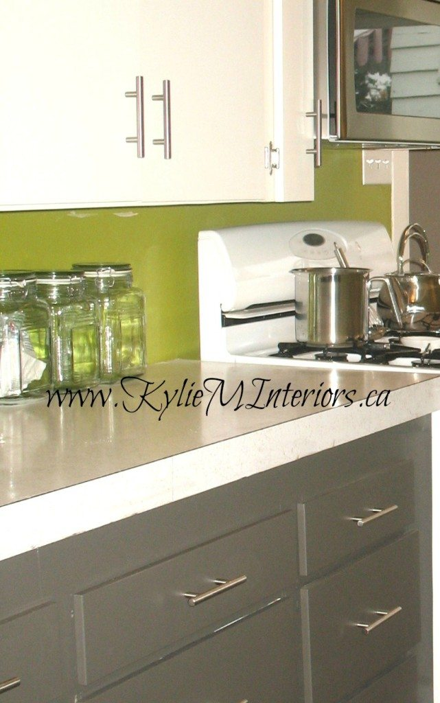 Kitchen Painted Laminate Cabinets With Benjamin Moore Cloud White And Amherst