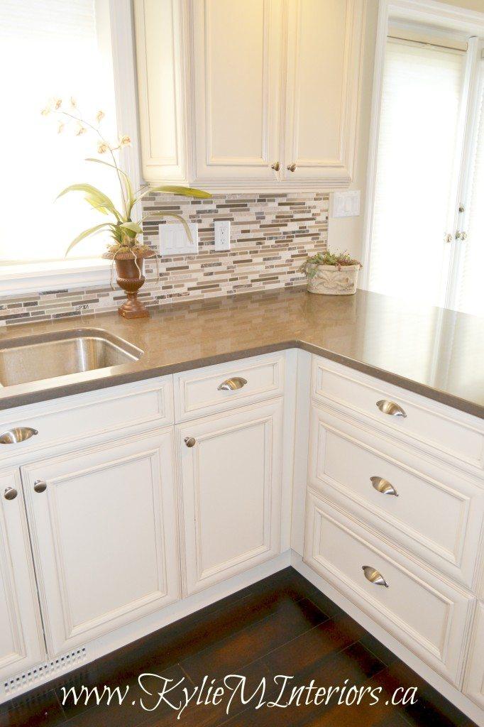 Oak Kitchen Remodel  Painted Cream Cabinets and Quartz  Kylie M