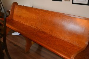 church pew before painting
