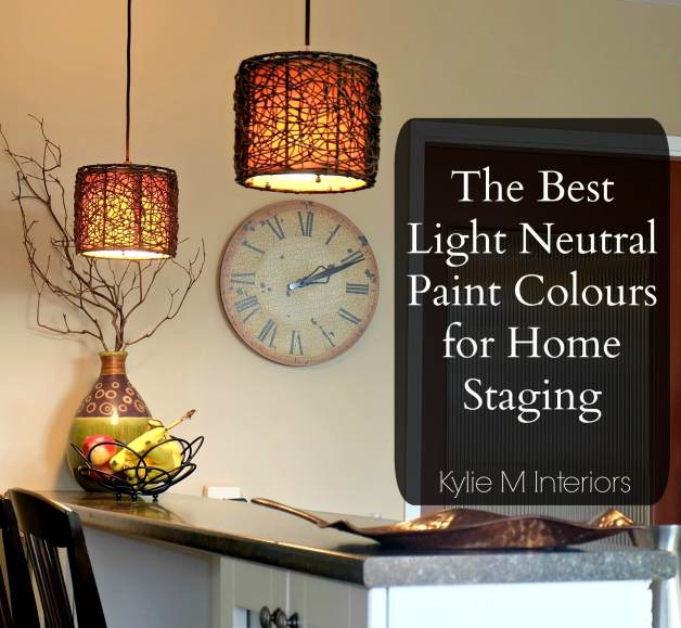 best light neutral paint colours that are popular for home staging and selling. Shown with kitchen peninsula with pendant lighting and decor