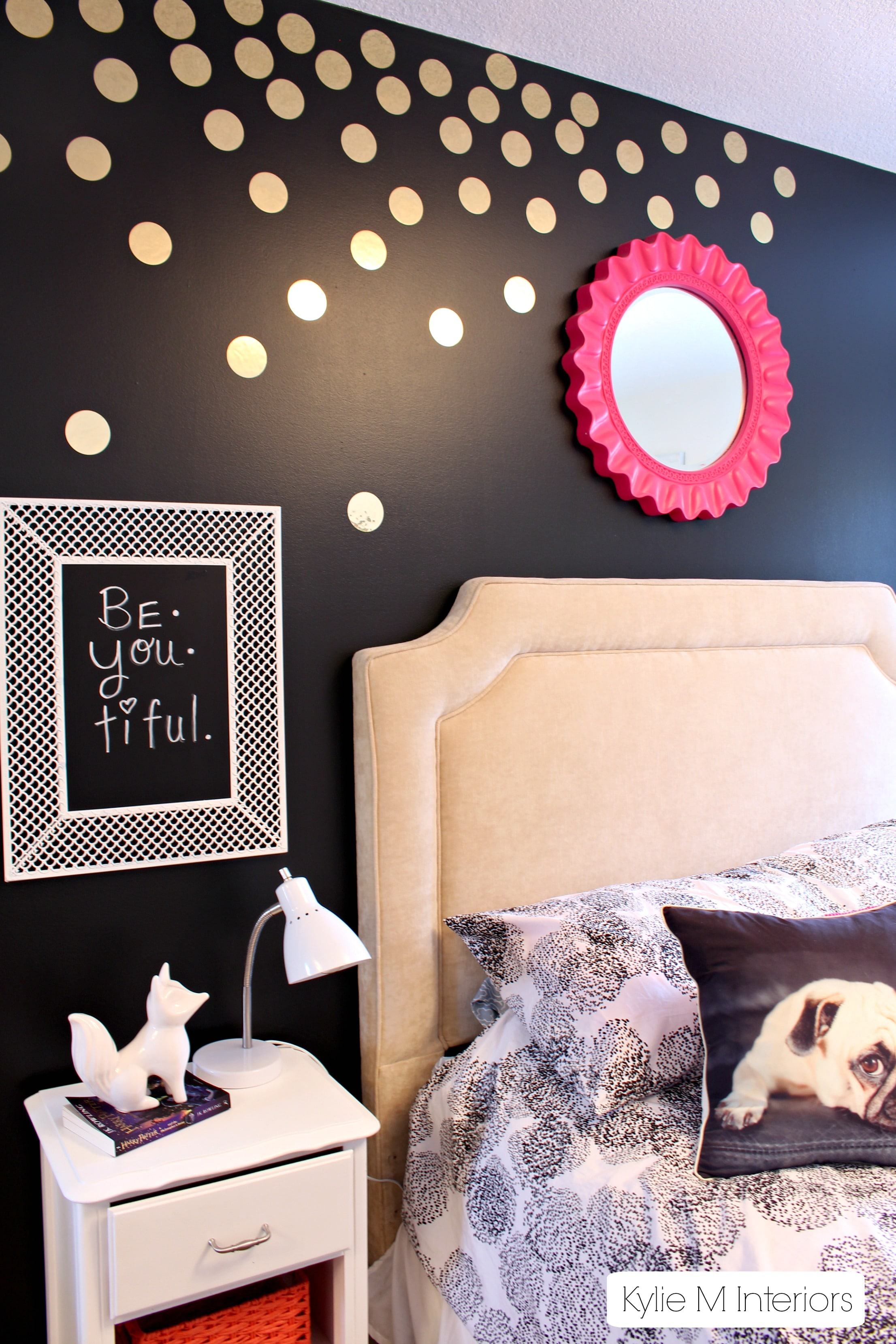 Gold polka dot decals on black feature wall in tween or for Girls bedroom paint ideas polka dots