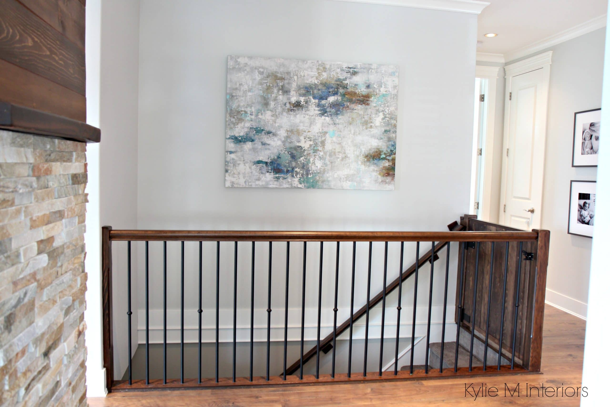 Swish Stained Stained Woodrailing Hallway Artwork On Kylie M Interiors Stairwell Stairwell Online Colorconsulting Benjamin Moore Owl Benjamin Moore Owl Hallway houzz-03 Gray Owl Benjamin Moore