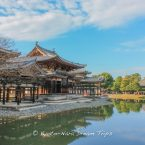 The famous Phoenix Hall of Byōdō-in, in Uji City-Kyoto, before its renewal. Inside is a statue of Amitabha Tathagata, by the renowned sculptor Jōchō (定朝; died 1057 AD). It dates back to 1053 and is made of wood covered with gold leaf, with a height of almost 3 meters.