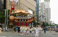 The turning of the floats (Tsujimawashi) is a spectacular event of the Gion Matsuri. The floats don't have a rudder to steer with, so split bamboo are places under the wheels and water is applied to the wheels to allow them to slide while the floats are pulled from the side. The Gion Bayashi musicians, shouts of the pullers and oohs and ahhs from the spectators fill the air. With each successful pull there is laud applause!