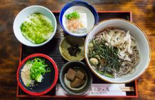 Tororo soba (とろろ蕎麦-slimy soba noodles with grated nagaimo), a delicacy. The soba noodles are served in a large bowl, you then add the broth and the grated nagaimo, mix everything well and enjoy. Along with the main tororo soba dish come some local tsukemono (pickled veggies) and some bits of konnyaku (蒟蒻). You can choose a raw egg to mix with your soba dish and tofu is an extra add on.