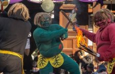 "A ""black demon with a sledge hammer"", ""green demon with large ax"" and a ""red demon with a torch and sword"" during the annual Rozan-ji Setsubun matsuri (廬山寺) in Kyoto City."