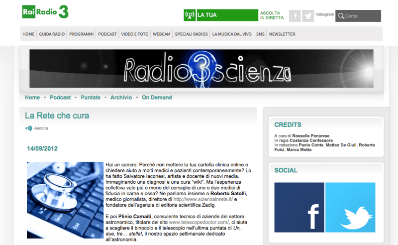 La Cura on Rai Radio 3