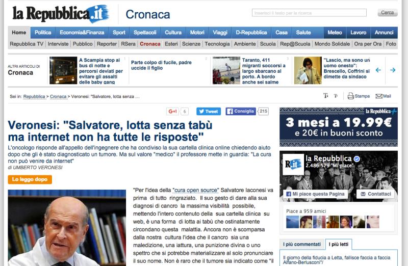 La Cura on La Repubblica