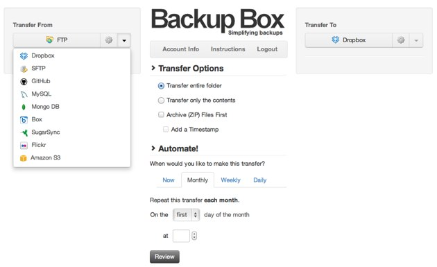 Automate backup transfers for Dropbox FTP SFTP Amazon MySQL and lots more | Backup Box