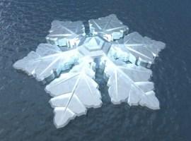 Un fantástico hotel ártico con forma de cristal de hielo