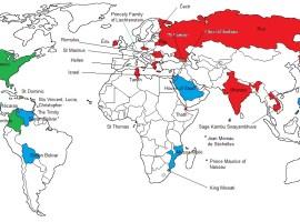 Un mapa con todos los países cuyos nombres derivan de personas