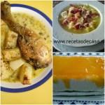 MENÚ Nº 1. Sopa de patatas en microondas, jamoncitos con salsa de almendras y pudín de queso y manzana.