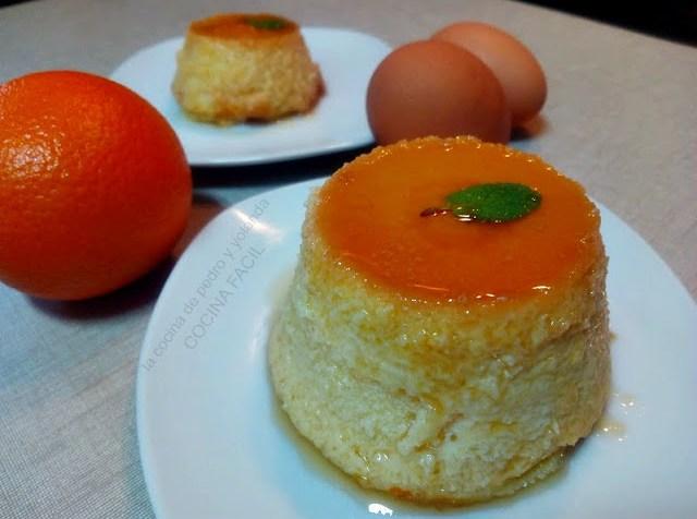 Flan de naranja en microondas y horno