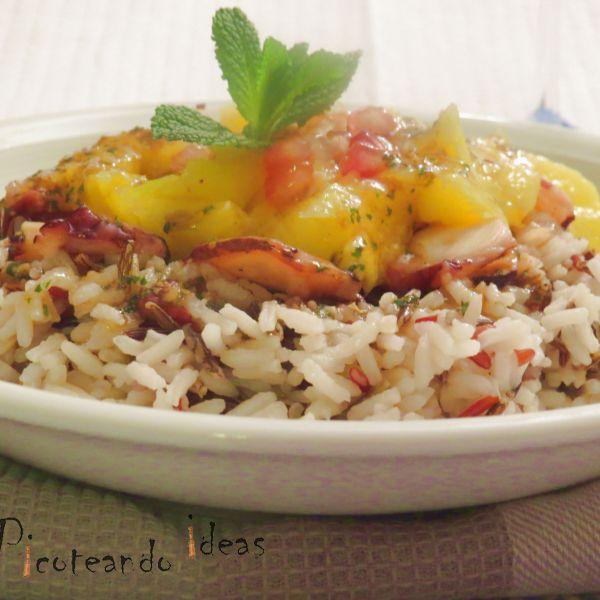 menú semanal 47 ensalada de arroz con mango y pulpo