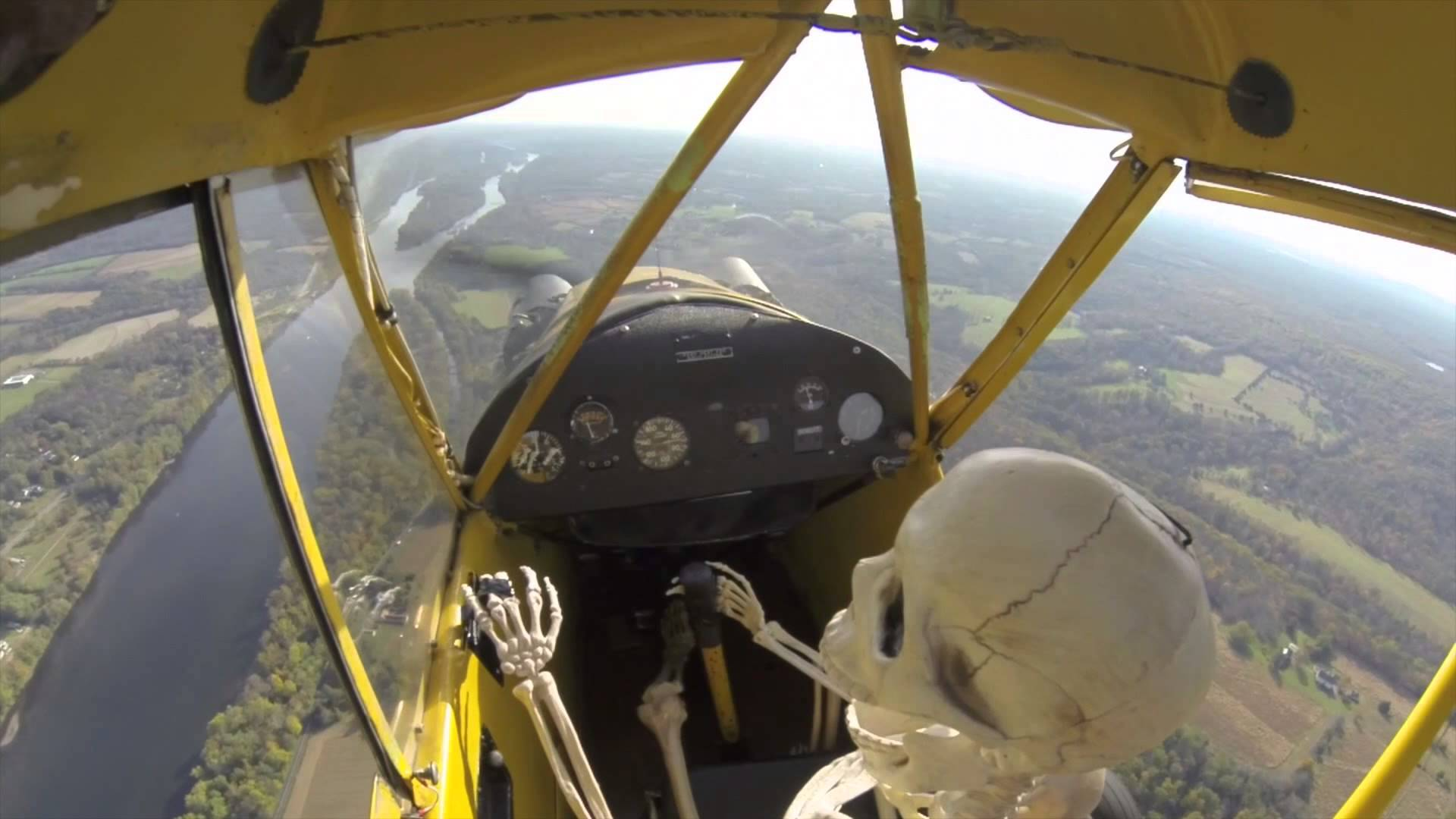 Mr. Skeltal Flying an Airplane Video