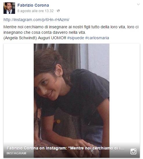 Fabrizio Corona versione papà: gli auguri speciali a Carlos