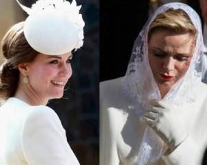 Kate Middleton e Charlene Wittstock, sfida in bianco FOTO