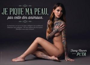 Fanny Maurer, modella tatuata francese senza veli per la Peta