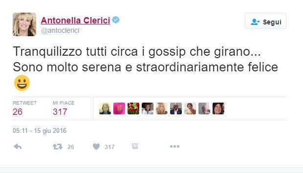Antonella Clerici tradita da Panfili? Il commento della conduttrice