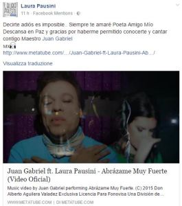 Laura Pausini ricorda l'amico Juan Gabriel, cantante morto a 66 anni
