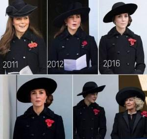 Kate Middleton: total black riciclato al Remembrance Day FOTO