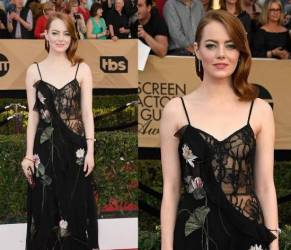 Emma Stone osa: abito trasparente e pizzo nero FOTO