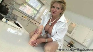 Fucking A Huge Dildo On My Kitchen Table