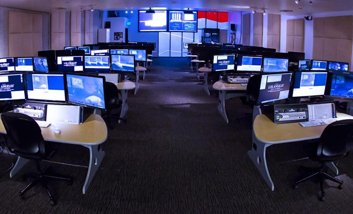 The unique Advanced Post-Production Lab features networked and fully loaded Avid Media Composer workstations with triple displays, each running High-Definition content on Dell Precision computers. Using the peripheral hardware, students can transfer their projects from standard- or high-definition sources into the stations to complete the post-production process.