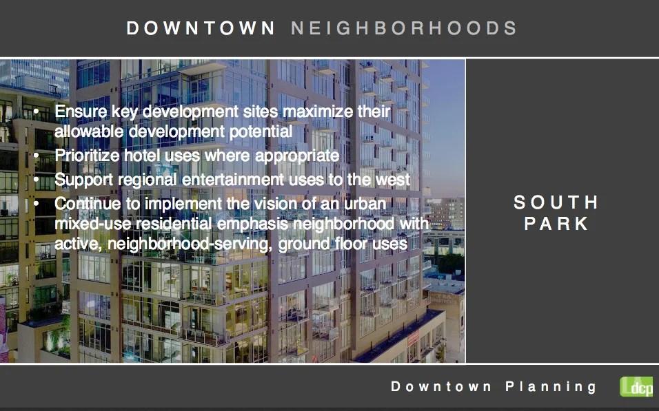 Re:code presentation slide on downtown-specific development. Source: City Planning