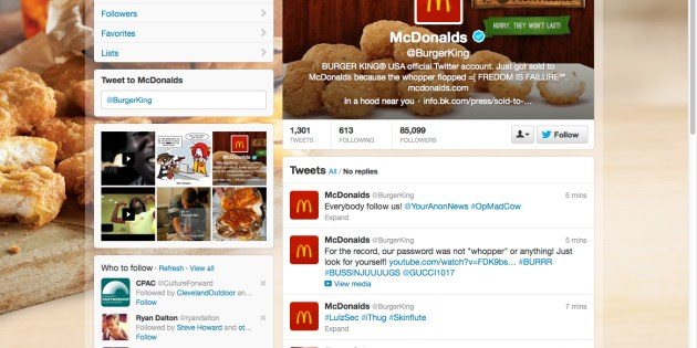 Burger King (@BurgerKing) Twitter Page Hacked